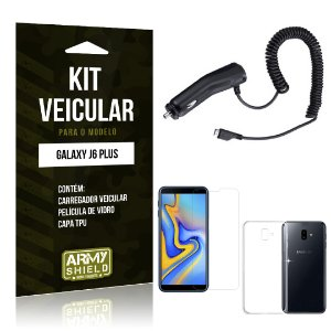 Kit Carregador Veicular Galaxy J6 Plus Carregador + Película + Capa - Armyshield