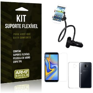 Kit Suporte Flexível Galaxy J6 Plus Suporte + Película + Capa - Armyshield