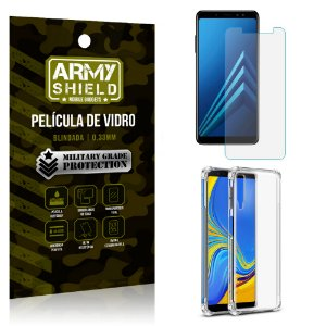 Kit Capa Anti Shock Samsung Galaxy A7 2018 com Capa + Película de Vidro - Armyshield