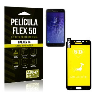 Película Flex 5D Cobre a Tela Toda Samsung Galaxy J4 Preta - Armyshield