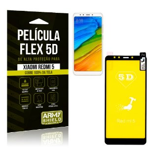 Película Flex 5D Cobre a Tela Toda Xiaomi Redmi 5 Preta - Armyshield