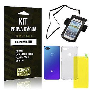 Kit Capa à Prova D'água Xiaomi Mi 8 Lite  Prova Dágua + Película Gel + Capa - Armyshield