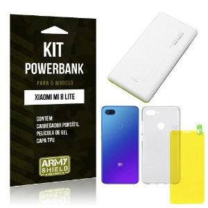 Kit Powerbank Tipo C Xiaomi Mi 8 Lite  Powerbank + Película Gel + Capa - Armyshield