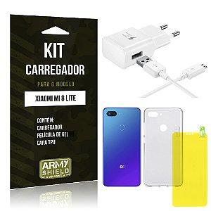 Kit Carregador Tipo C Xiaomi Mi 8 Lite  Carregador + Película Gel + Capa - Armyshield