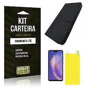 Kit Capa Carteira Xiaomi Mi 8 Lite  Capa Carteira + Película Gel - Armyshield