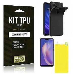Kit Capa Fumê Xiaomi Mi 8 Lite  Película Gel + Capa Fumê - Armyshield