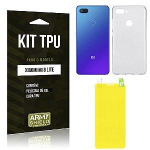 Kit Capa Silicone Xiaomi Mi 8 Lite  Película Gel + Capa - Armyshield