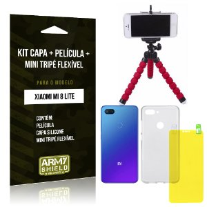 Kit Xiaomi Mi 8 Lite Capa Silicone + Película Gel + Mini Tripé Flexível - Armyshield