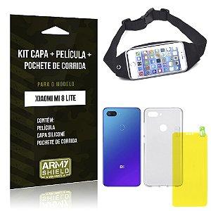 Kit Xiaomi Mi 8 Lite Capa Silicone + Película Gel + Pochete para Corrida - Armyshield