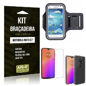 Kit Braçadeira Moto G7 Braçadeira + Película de Vidro + Capa - Armyshield