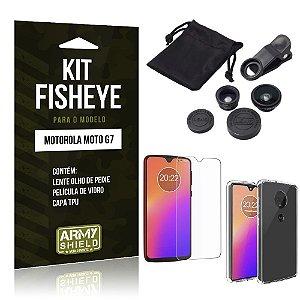 Kit Fisheye Moto G7 Lente Fisheye + Película de Vidro + Capa - Armyshield