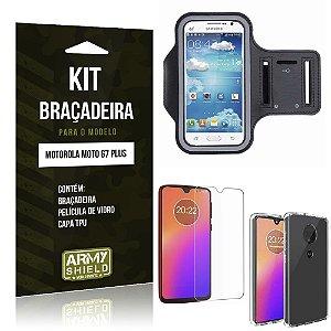 Kit Braçadeira Moto G7 Plus Braçadeira + Película de Vidro + Capa - Armyshield
