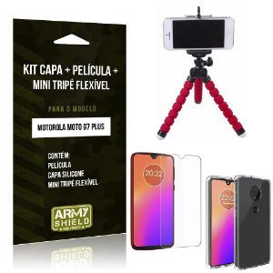 Kit Moto G7 Plus Capa Silicone + Película de Vidro + Mini Tripé Flexível - Armyshield