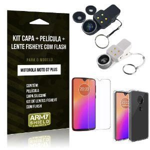 Kit Fisheye com Flash Moto G7 Plus Lente Fisheye Flash + Película de Vidro + Capa - Armyshield