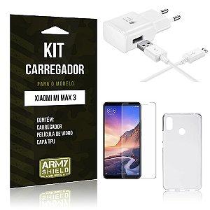 Kit Carregador Tipo C Xiaomi Mi Max 3 Carregador + Película de Vidro + Capa - Armyshield