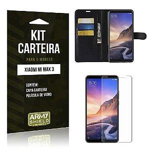 Kit Capa Carteira Xiaomi Mi Max 3 Capa Carteira + Película de Vidro - Armyshield