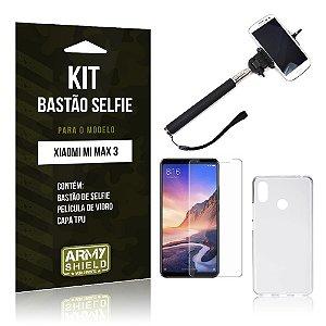 Kit Bastão Selfie Xiaomi Mi Max 3 Bastão + Película de Vidro + Capa - Armyshield