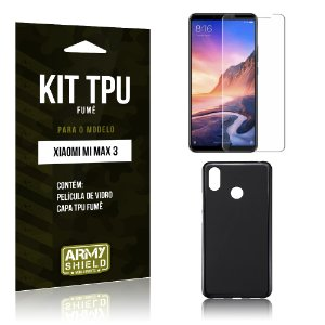 Kit Capa Fumê Xiaomi Mi Max 3 Película de Vidro + Capa Fumê - Armyshield