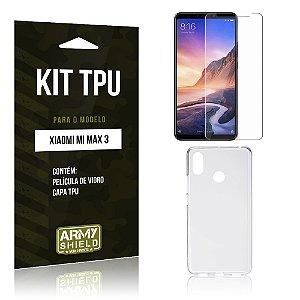 Kit Capa Silicone Xiaomi Mi Max 3 Película de Vidro + Capa - Armyshield