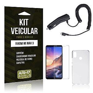 Kit Carregador Veicular Tipo C Xiaomi Mi Max 3 Carregador + Película de Vidro + Capa - Armyshield
