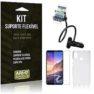 Kit Suporte Flexível Xiaomi Mi Max 3 Suporte + Película de Vidro + Capa - Armyshield