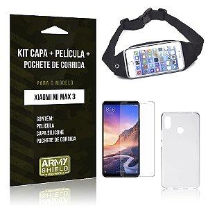 Kit Xiaomi Mi Max 3 Capa Silicone + Película de Vidro + Pochete para Corrida - Armyshield
