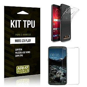 Kit Capa Silicone Motorola Moto Z3 Play Capa de Silicone + Película de Vidro - Armyshield
