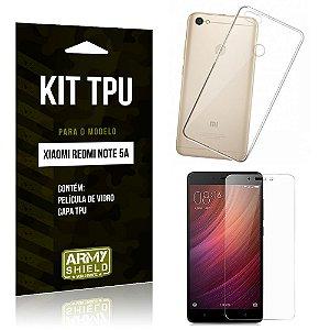 Kit Capa Silicone Xiaomi Redmi Note 5A Capa de Silicone + Película de Vidro - Armyshield