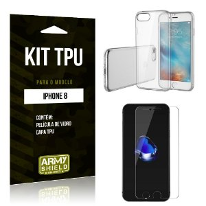 Kit Capa Silicone Apple iPhone 8 Capa de Silicone + Película de Vidro - Armyshield