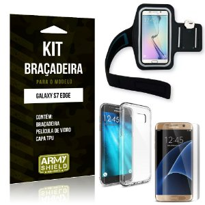 Kit Braçadeira Samsung Galaxy S7 Edge Braçadeira + Capa + Película de Vidro - Armyshield