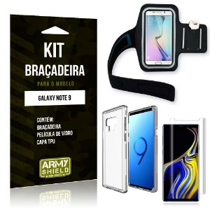Kit Braçadeira Samsung Galaxy Note 9 Braçadeira + Capa + Película de Vidro - Armyshield