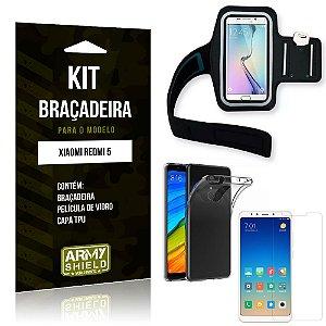 Kit Braçadeira Xiaomi Redmi 5 Braçadeira + Capa + Película de Vidro - Armyshield