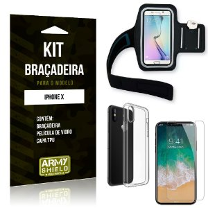 Kit Braçadeira Apple iPhone X Braçadeira + Capa + Película de Vidro - Armyshield