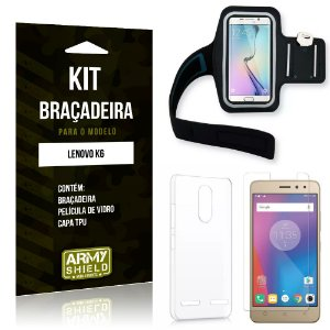 Kit Braçadeira Lenovo  K6 Braçadeira + Capa + Película de Vidro - Armyshield