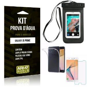 Kit Prova D'água Samsung Galaxy J5 Prime Capa a Prova D'água + Capa + Película de Vidro - Armyshield