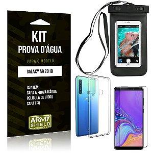 Kit Prova D'água Samsung Galaxy A9 2018 Capa a Prova D'água + Capa + Película de Vidro - Armyshield