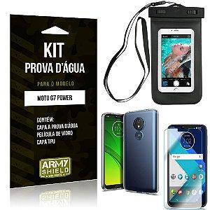 Kit Prova D'água Motorola Moto G7 Power Capa a Prova D'água + Capa + Película de Vidro - Armyshield