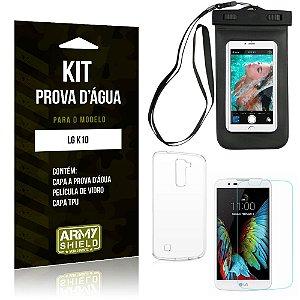 Kit Prova D'água LG  K10 Capa a Prova D'água + Capa + Película de Vidro - Armyshield