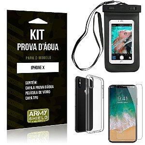 Kit Prova D'água Apple iPhone X Capa a Prova D'água + Capa + Película de Vidro - Armyshield