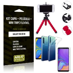 Kit Mini Tripé Flexível Samsung Galaxy A9 2018 Tripé + Capa + Película de Vidro - Armyshield