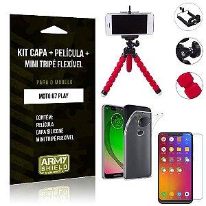Kit Mini Tripé Flexível Motorola Moto G7 Play Tripé + Capa + Película de Vidro - Armyshield