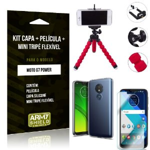 Kit Mini Tripé Flexível Motorola Moto G7 Power Tripé + Capa + Película de Vidro - Armyshield