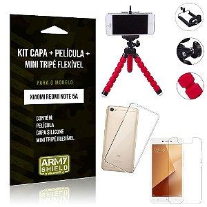 Kit Mini Tripé Flexível Xiaomi Redmi Note 5A Tripé + Capa + Película de Vidro - Armyshield