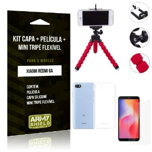 Kit Mini Tripé Flexível Xiaomi Redmi 6A Tripé + Capa + Película de Vidro - Armyshield