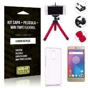 Kit Mini Tripé Flexível Lenovo  K6 Plus Tripé + Capa + Película de Vidro - Armyshield
