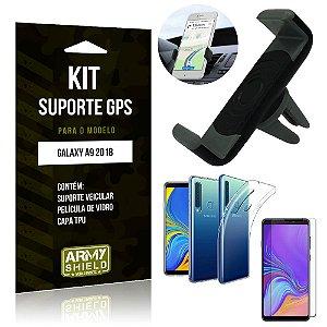 Kit Suporte Veicular Samsung Galaxy A9 2018 Suporte + Capa + Película de Vidro - Armyshield