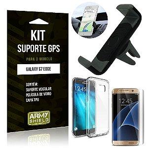 Kit Suporte Veicular Samsung Galaxy S7 Edge Suporte + Capa + Película de Vidro - Armyshield