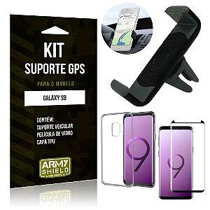 Kit Suporte Veicular Samsung Galaxy S9 Suporte + Capa + Película de Vidro - Armyshield