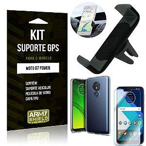 Kit Suporte Veicular Motorola Moto G7 Power Suporte + Capa + Película de Vidro - Armyshield