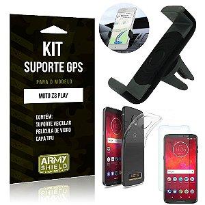 Kit Suporte Veicular Motorola Moto Z3 Play Suporte + Capa + Película de Vidro - Armyshield